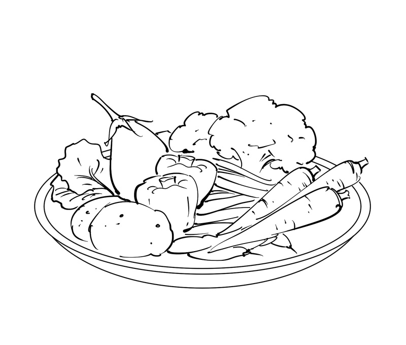 vegitables line drawing health and nurition book illustration