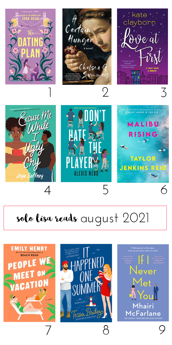 Round-up of book covers featuring The Dating Plan by Sara Desai, A Certain Hunger by Chelsea G. Summers, Love at First by Kate Clayborn, Excuse Me While I Ugly Cry by Joya Goffney, Don't Hate the Player by Alexis Nedd, Malibu Rising by Taylor Jenkins Reid, People We Meet On Vacation by Emily Henry, It Happened One Summer by Tessa Bailey, and If I Never Met You by Mhairi McFarlane