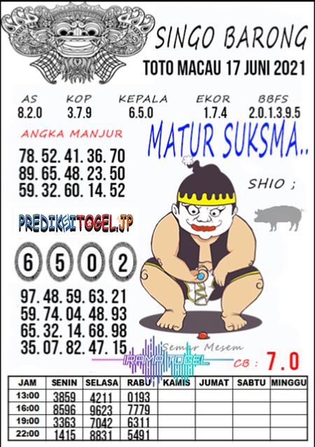 Syair Top Singo Barong Toto Macau Kamis 17 Juni 2021
