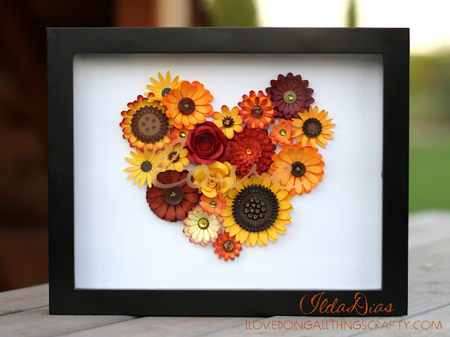 "Autumn ""love"" Flower Shadow Box Tutorial 