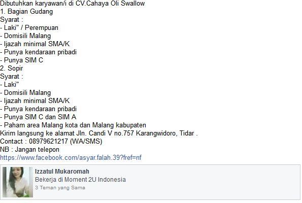 Lowongan Kerja CV. Cahaya Oli Swallow Tidar, Malang Januari 2017