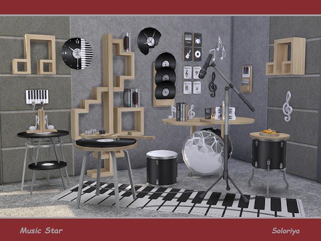 Music Star Музыкальная звезда для The Sims 4 Функциональные и декоративные предметы для ваших музыкальных комнат. Включает в себя 12 предметов. 4 цветовых палитры. Предметы в наборе: - кресло - три столика - стол в прихожей - три настенных декора - две функциональные полки - торшер - книги - коврик Автор: soloriya