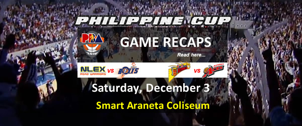 List of PBA Game(s) Saturday December 3, 2016 @ Smart Araneta Coliseum