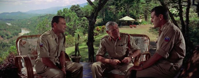 WIlliam Holden, Andre Morell and Jack Hawkins in army uniforms