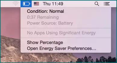 تحقق من صحة البطارية على MacBook