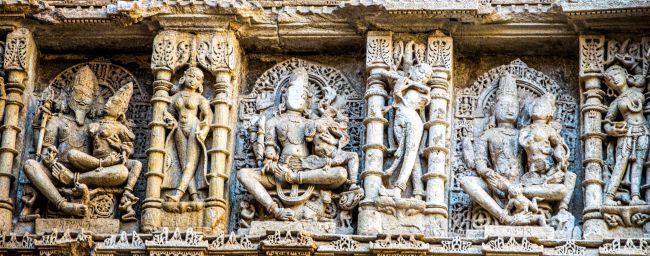 Brahma, Vishnu and Mahesh with their Consorts