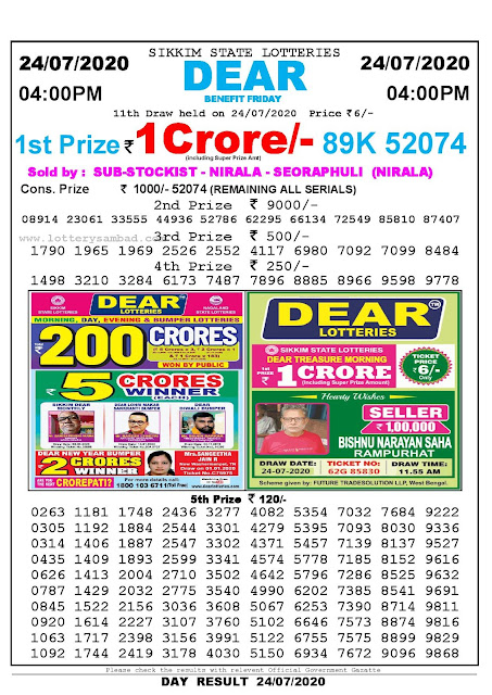 Sikkim State Lotteries 24-07-2020 Lottery Sambad Result 04:00 PM