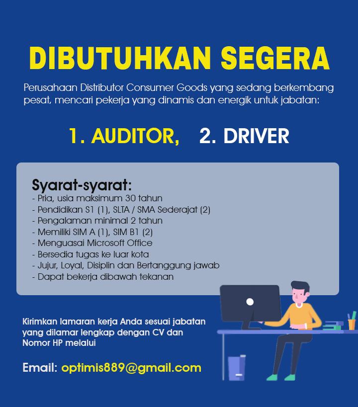 Lowongan Kerja Medan Driver Dan Auditor Di Perusahaan Distributor Consumer Goods Medanloker Com Lowongan Kerja Medan