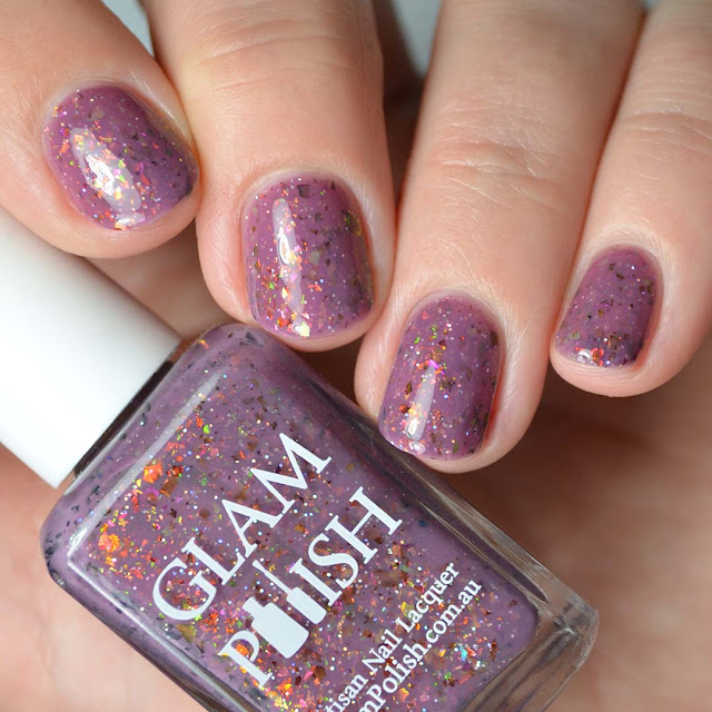 mauve flakie nail polish