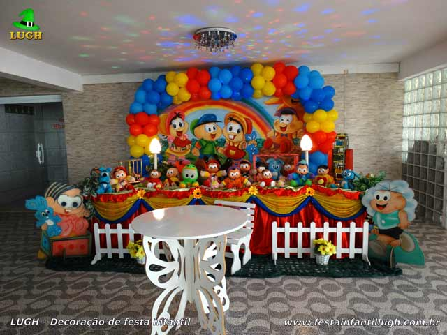 Decoração infantil Turma da Mônica - Festa de aniversário - Mesa tradicional luxo de tecido de pano