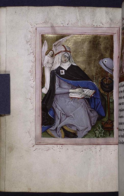 Santa Brígida da Suécia. Miniatura em breviário de 1476 contendo o Oficio Divino típico de sua Ordem
