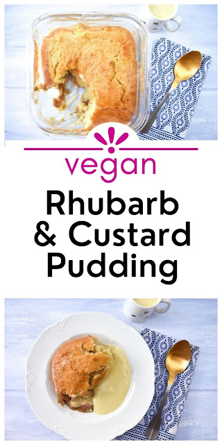 An easy recipe for vegan rhubarb and custard sponge pudding baked in the oven. Serve with more custard or vanilla ice cream for a comforting dessert.