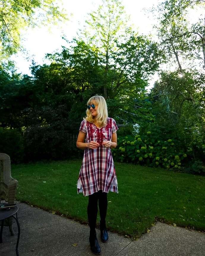 plaid boho dress