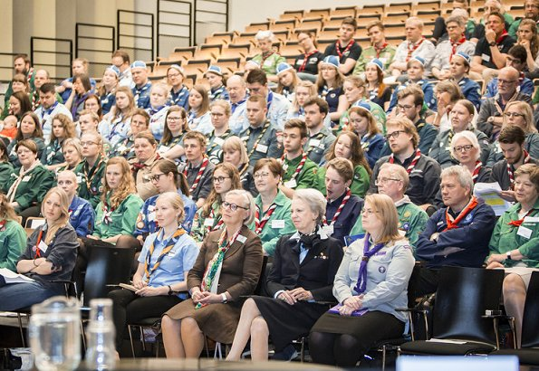 Princess Benedikte of Denmark attended opening of Nordic Scout conference at Gribskov Cultural Hall in Helsinge. Benedikte wore skirtsuit