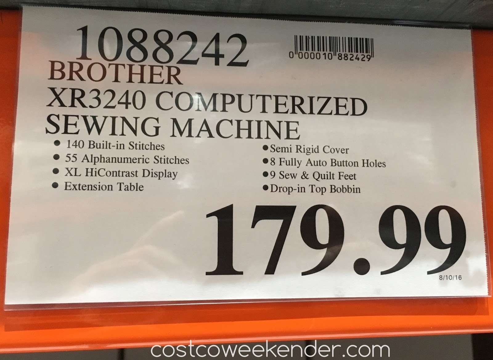Brother Xr3240 Computerized Sewing Quilting Machine Costco Weekender
