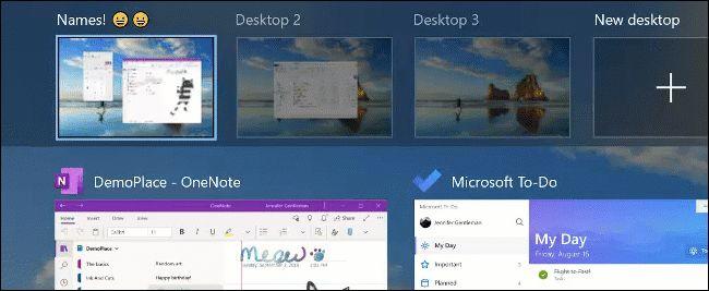 إعادة تسمية سطح مكتب افتراضي (باستخدام الرموز التعبيرية) على Windows 10.