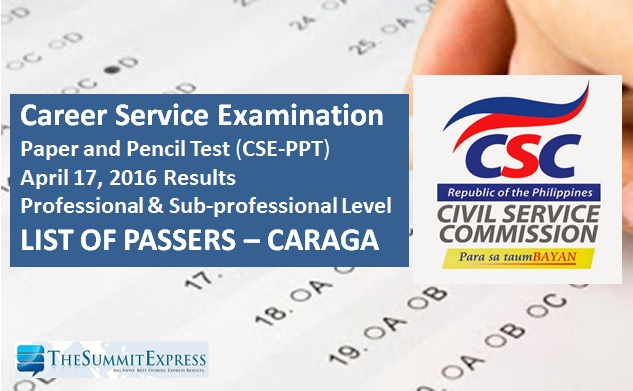 CARAGA Passers: April 2016 Civil Service Exam (CSE-PPT) results