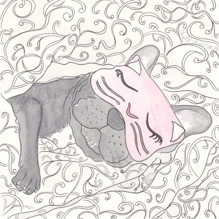 Lady Mabel's Cat Nap French Bulldog illustration  © Shell Sherree all rights reserved