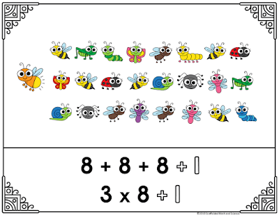Here is one of the free posters in this set showing the repeated addition to break 25 into three row of 8 bugs each, plus one
