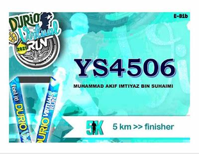 Durio Virtual Run 2021, penganjur Durio Virtual Run 2021, virtual run dapat esijil peringkat kebangsaan, PAJSK sekolah rendah dan menengah, E-Bib