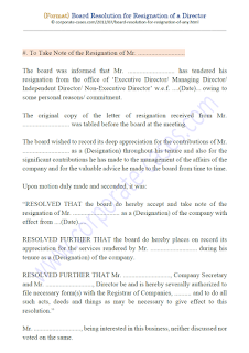 draft board resolution for resignation of director as per companies act 2013