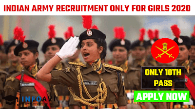 Indian Army Women Recruitment 2020, Indian Army GD Women Recruitment 2020, INDIAN ARMY BHARTI 2020,