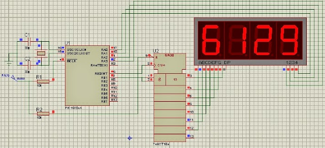 7 segment display multiplexing and shift register pic16f84a mikroc code