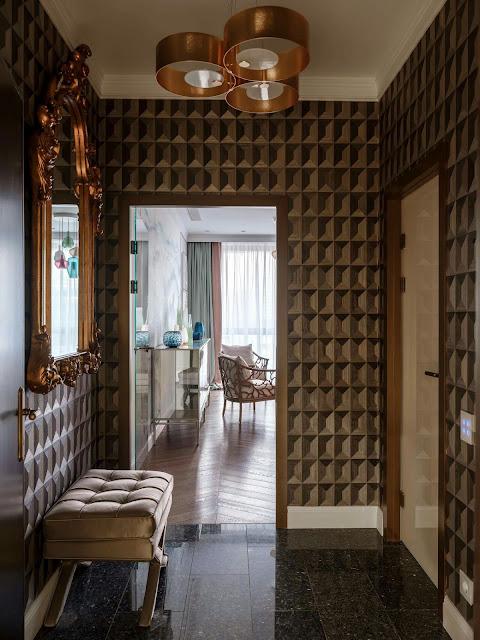 WALLPAPER IN THE HALLWAY  and corridor