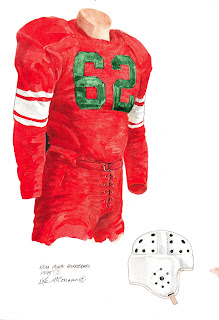 1945 Miami Hurricanes football uniform original art for sale