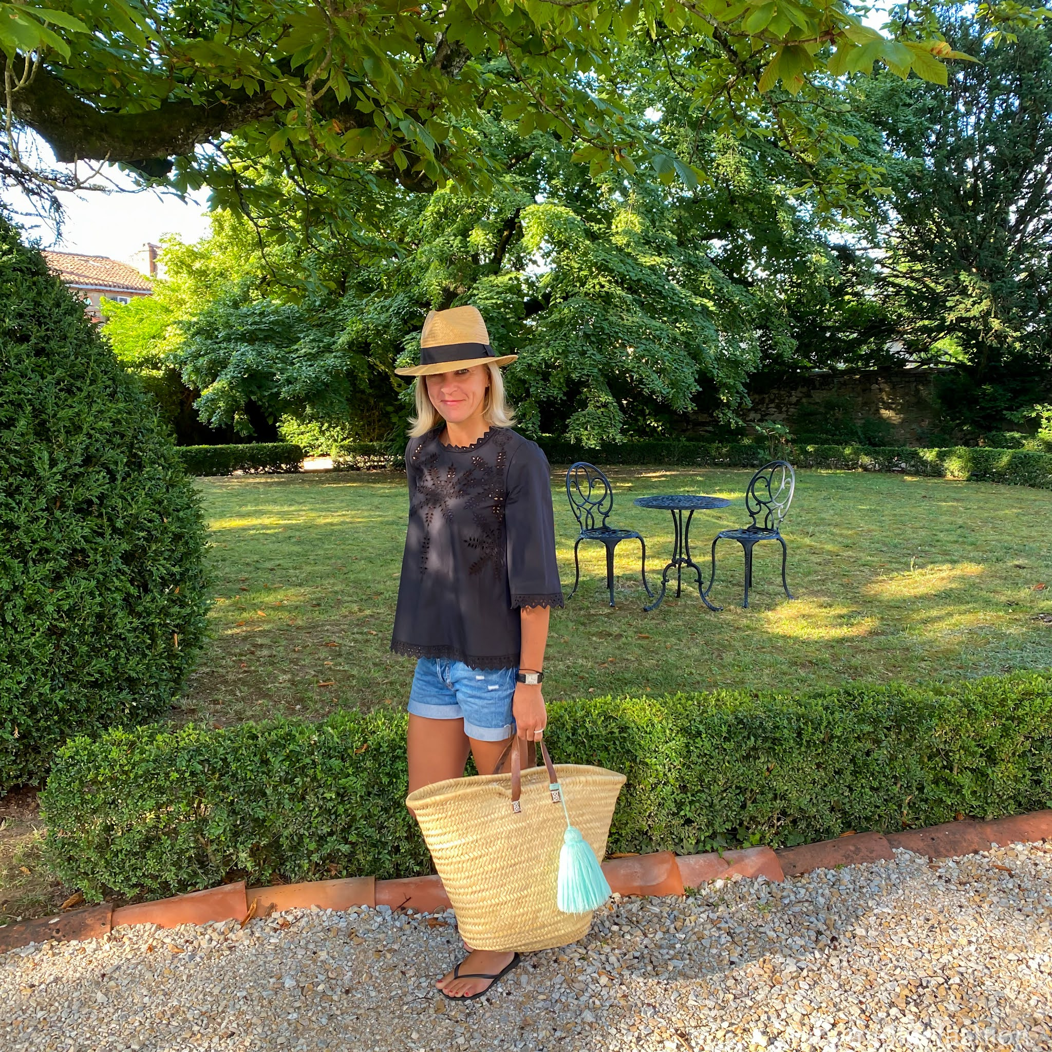 my midlife fashion, Isabel Marant etoile broderie blouse, h and m Panama hat, h & M boyfriend denim shorts, large straw basket, havaianas slim fit black flip flops