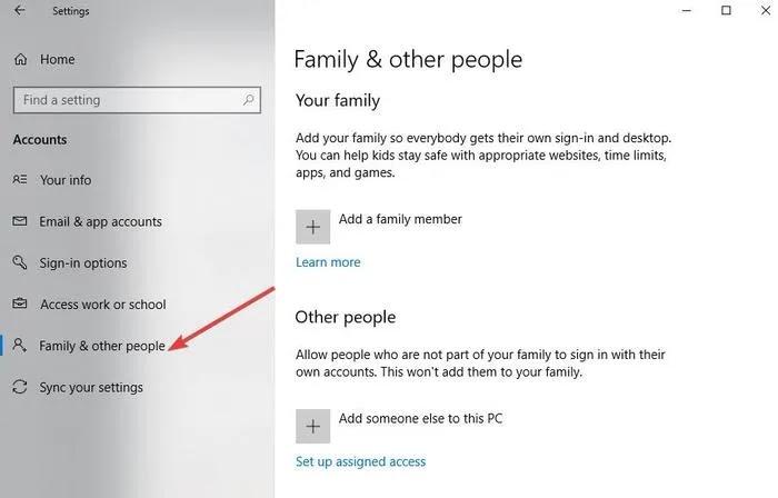 إصلاح نسخ لصق لا يعمل إعدادات Windows حسابات العائلة والأشخاص الآخرين