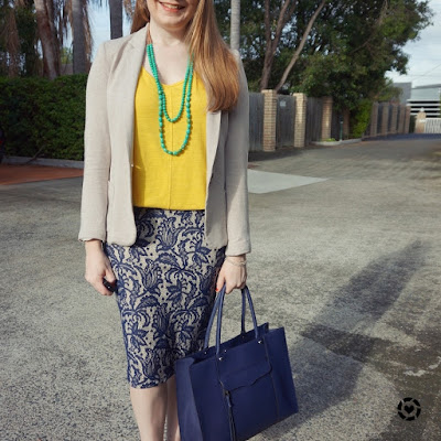awayfromblue instagram colourful bright tank blue lace pencil skirt blazer summer office wear