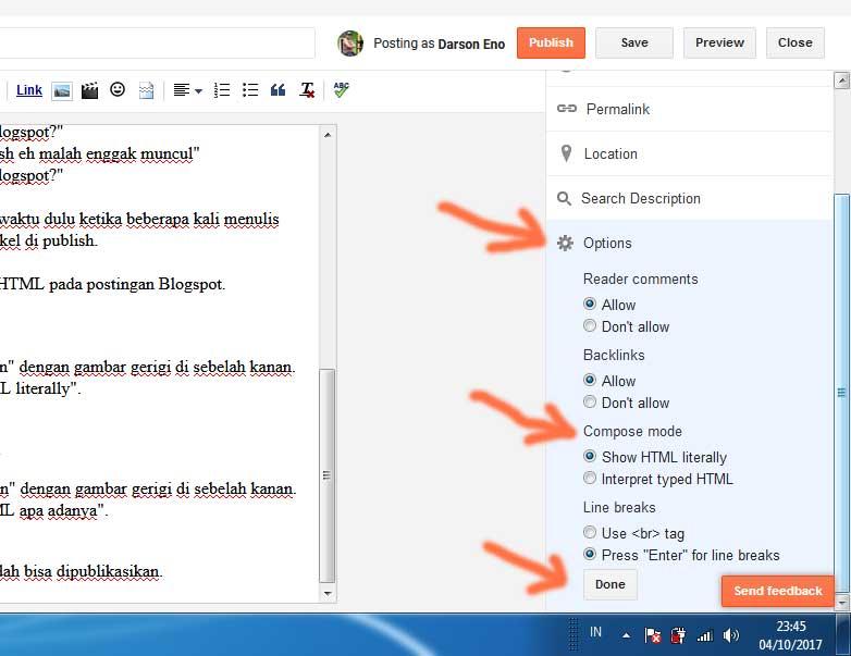 Cara menulis kode HTML di postingan Blogspot
