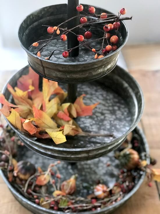 DIY Decorating a 3 tiered tray for fall