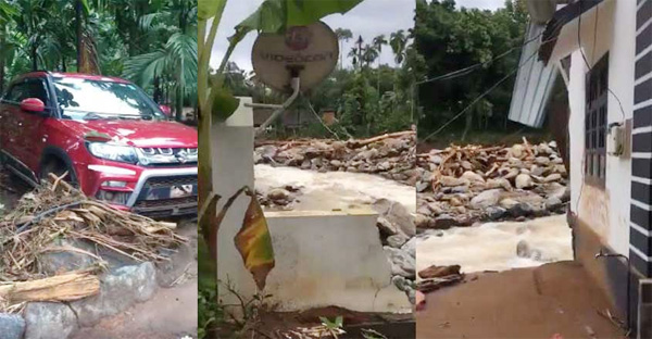 Viral video shows heartbreaking moment, house is flooded and new car is damaged,Malappuram, News, Rain, Trending, Video, Family, Kerala
