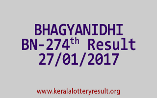 BHAGYANIDHI BN 274 Lottery Results 27-01-2017