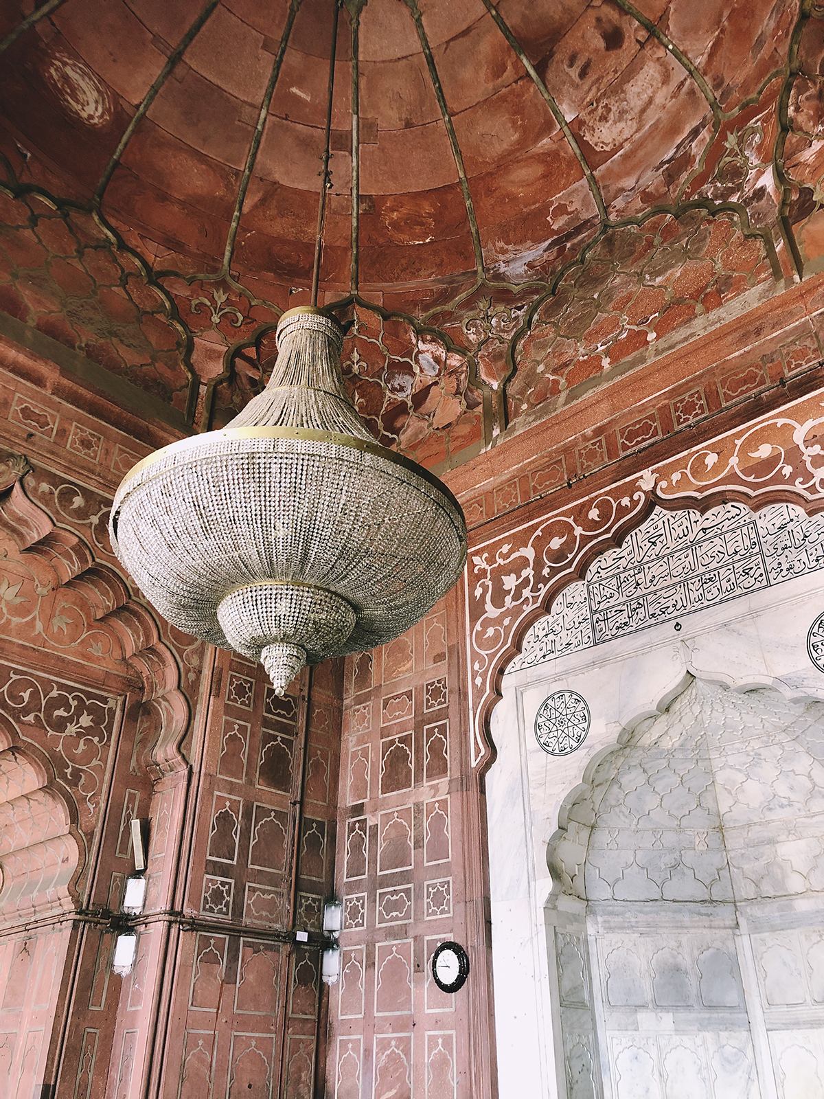 Intricate sandstone interior of Jama Masjid mosque