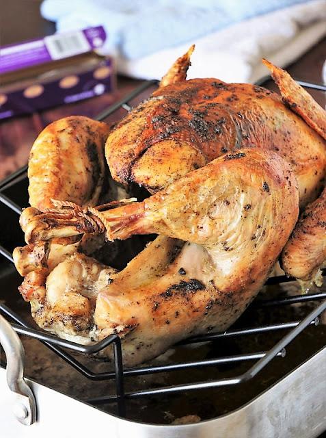 dinner Roasted Dry-Brined Turkey on Roasting Pan Rack Image