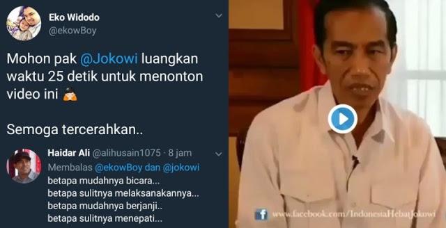 Warganet: Mohon pak @Jokowi luangkan waktu 25 detik untuk menonton video ini
