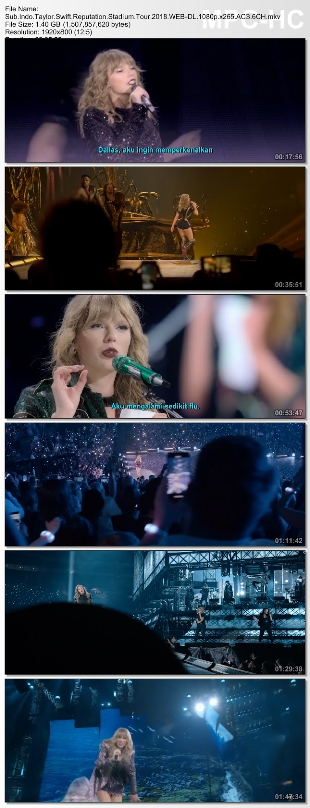 Screenshots Download Taylor Swift: Reputation Stadium Tour (2018) WEB-DL 480p & 3GP Subtitle Indonesia