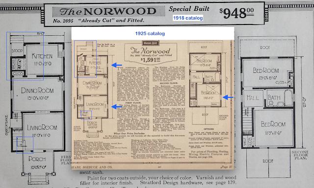 sears norwood model floorplan comparison 1918 vs 1925