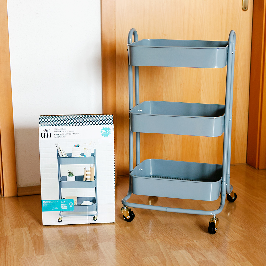 The Steel Blue Storage Cart by WRMK without any supplies and tools