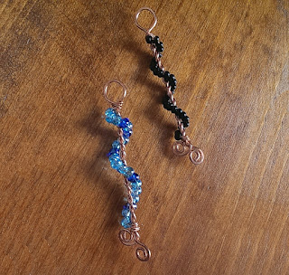 Hot Off The Bench -  Beaded Copper Twisted Spiral Pendants