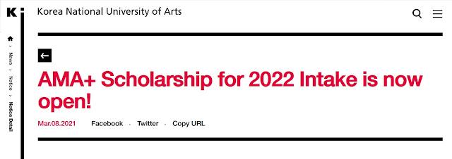 Beasiswa Kuliah Seni S1 – S2 di Korea Selatan AMA Scholarship