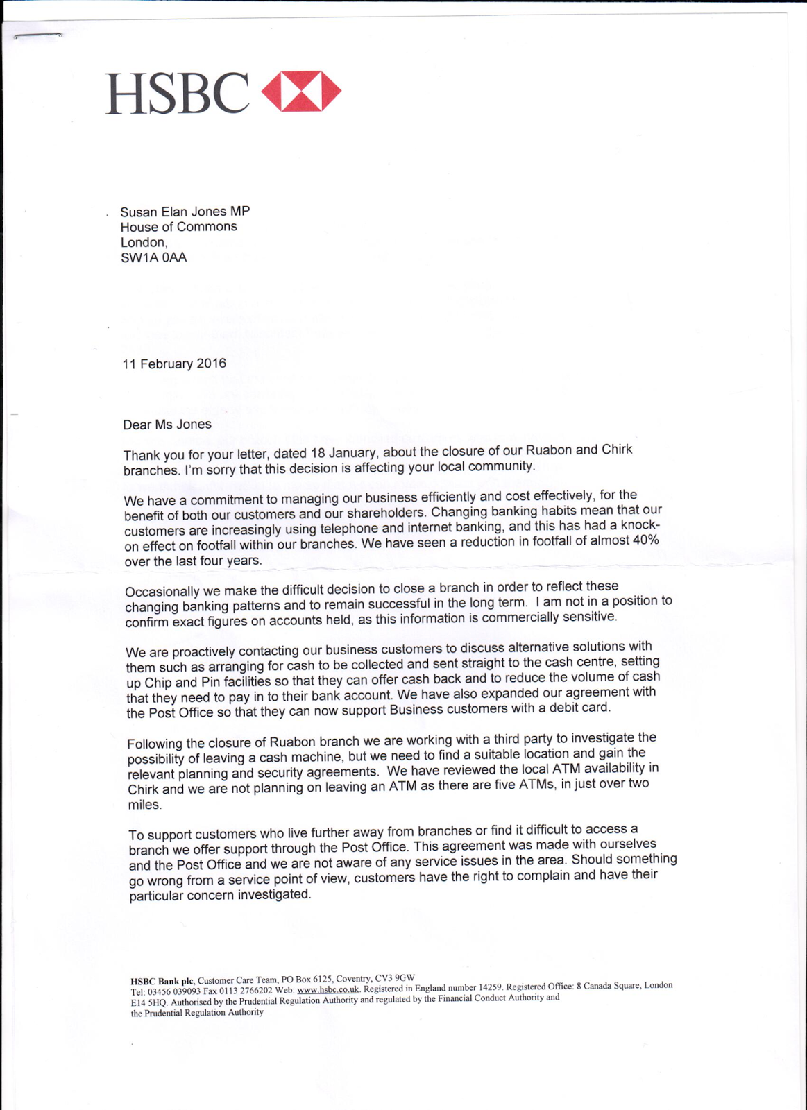 letter to close bank account uk