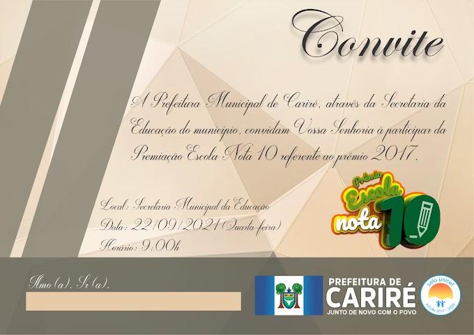 Dia 22/09, às 9:00h, será realizada a cerimônia de Premiação Escola Nota 10 referente ao ano de 2017