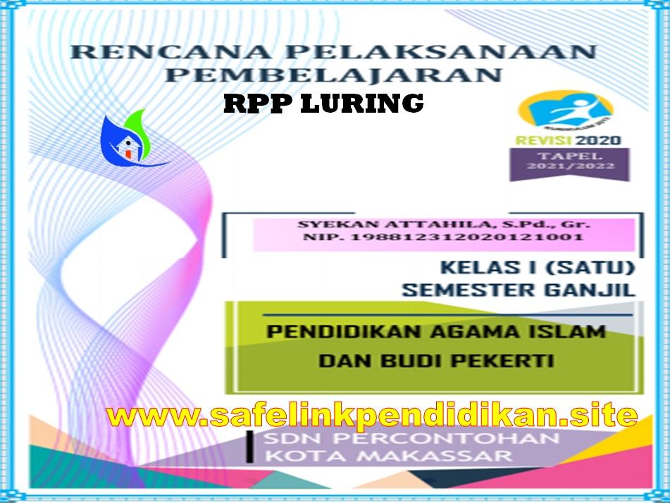 Contoh RPP Luring PAI Dan BP 1 Lembar Kelas 1