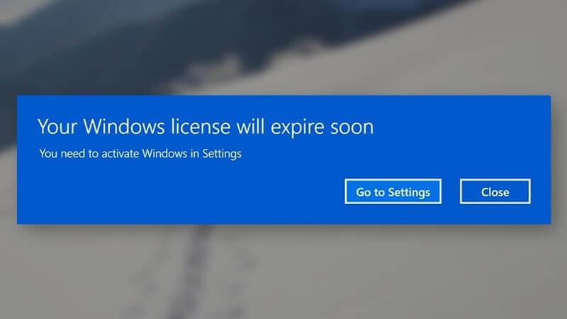 Cách tắt thông báo Your Windows license will expire soon Windows 10