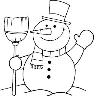 איש שלג עושה שלום ציור לצביעה