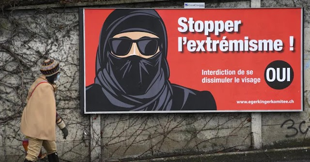 Switzerland citizens voted for ban of burqa that become outlaw as all no-medical facial coverings  in public places.
